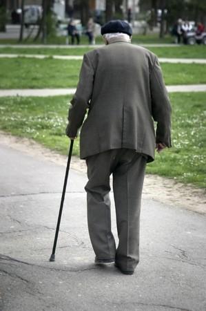 old man walking Stock Photo