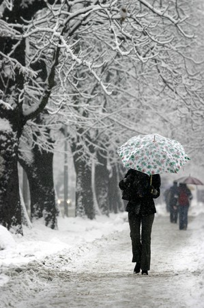 adult walking through city during snowstorm photo