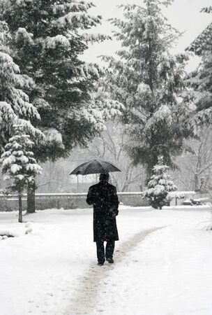 adult walking through city during snowstorm Stock Photo - 4000962