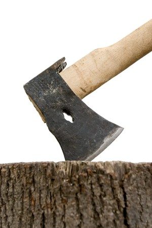 chock: axe and stump on white background with path Stock Photo