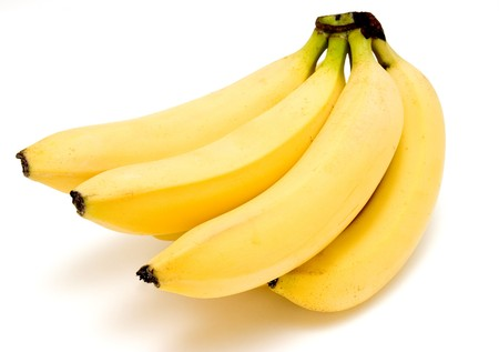 bunch up: bunch of bananas on white background with path
