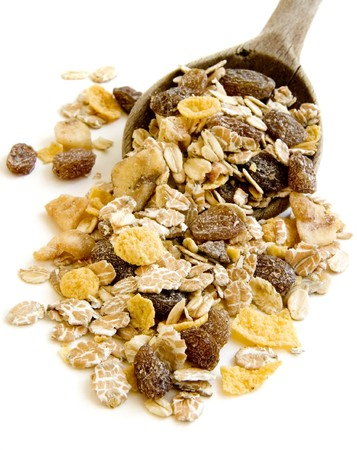 close up of ready to use muesli on white background with path Stock Photo - 4091338