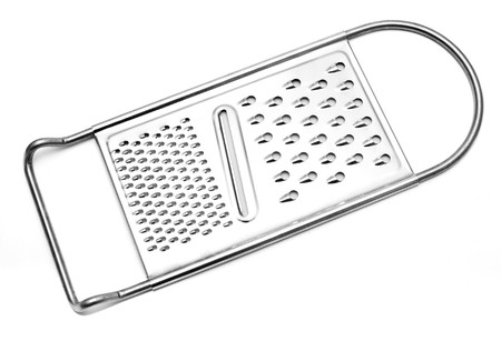 grater: close up of cheese grater on white background
