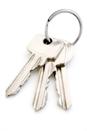 close up of keys on white background with path Stock Photo - 4091131