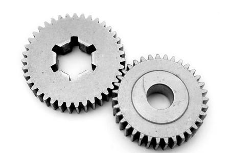 progression: mechanical machine part on white background