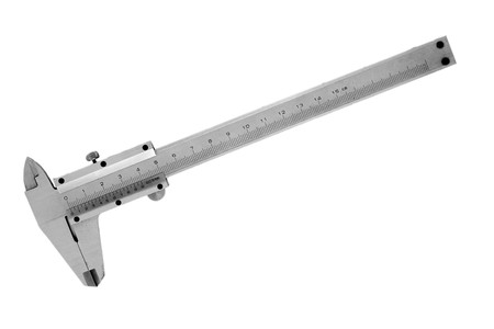 close up of vernier tool on white background with path photo