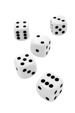 luckiness: close up of dice on white background with path Stock Photo