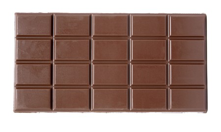 unwrapped: close up of chocolate bar on white background, with path
