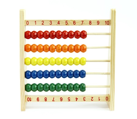 additional training: close up of colorful abacus on white background, with path Stock Photo