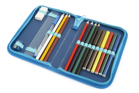 pencil sharpener: close up of color pencils in pencil case on white background with path