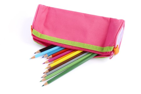 case: close up of color pencils in pencil case on white background with path