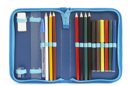 close up of color pencils in pencil case on white background with path photo