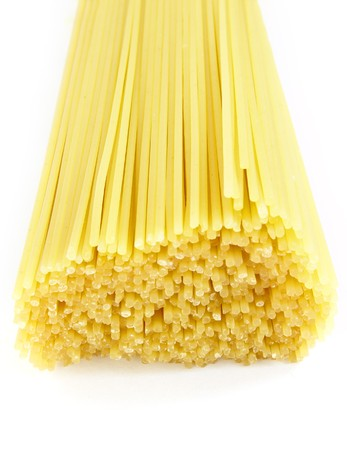 aliments: still life of spaghetti on white background with path
