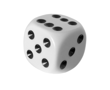 close up of dice on white background with path Stock Photo