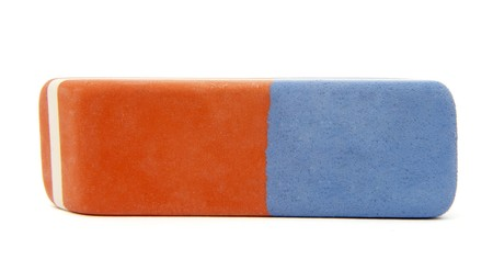 corrects: close up of eraser on white background with path