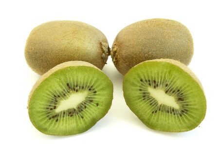 close up of green kiwi on white background with path, shadow not included photo