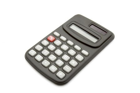 close up of calculator on white background with path photo