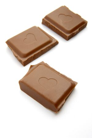 close up of chocolate bar on white background, with path photo