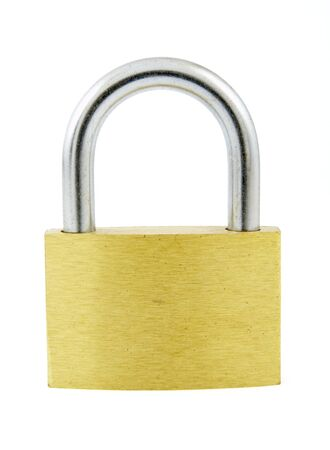 close up of padlock and key on white background with path, shadow not included photo