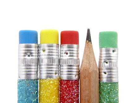 close up of pencils on white background with path photo