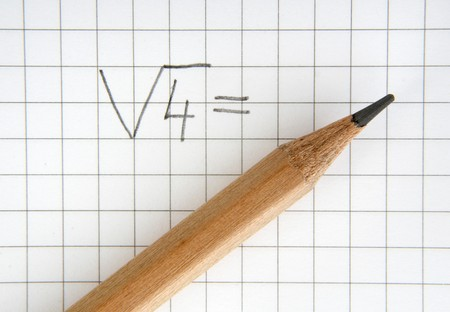 square root: close up of notebook and pencil  Stock Photo
