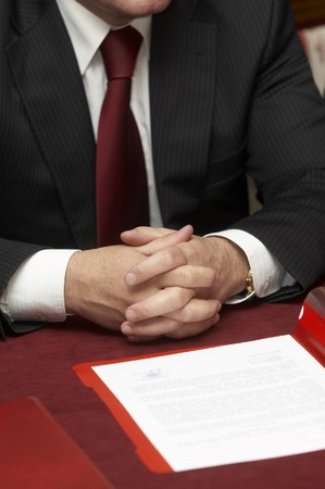 broker: close up of businessmen hands during meeting Stock Photo