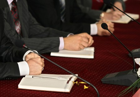 trusting: close up of businessmen hands during meeting Stock Photo