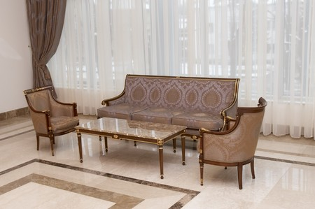 interior view of elegant furniture in spacious lobby photo