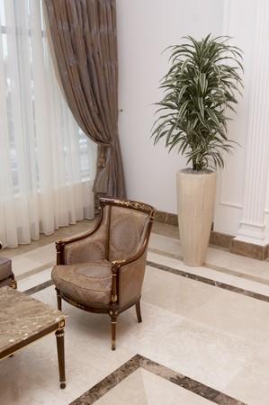 interior view of elegant furniture in spacious lobby Stock Photo