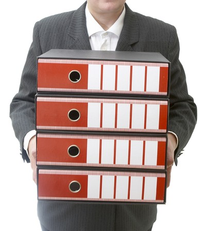 close up of businesswomanholding file folders on white background  photo