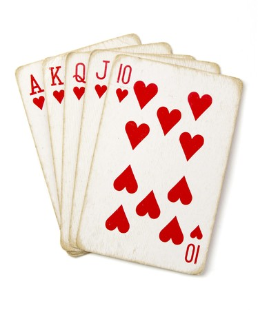 straight flush: close up of straight flush of playing cards poker game on white background