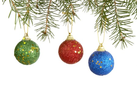 hanging up: christmas ornaments hanging  on white background  Stock Photo
