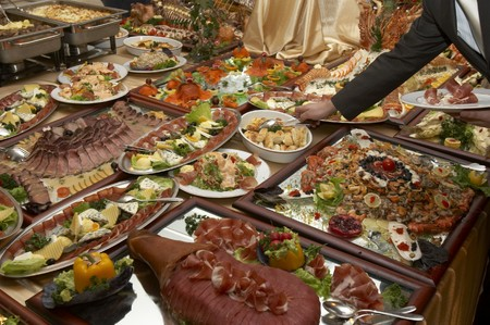aliment: close up buffet table arrangement cattering Stock Photo