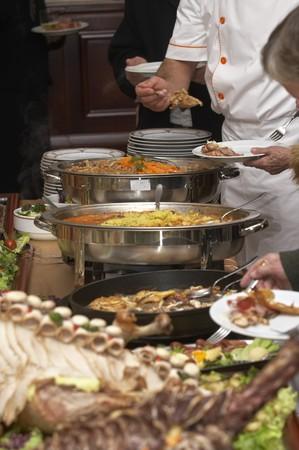 buffet dinner: close up buffet table arrangement cattering Stock Photo