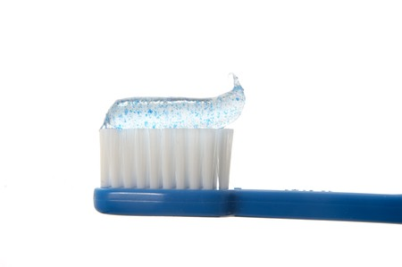 close up of toothbrush  on white background photo