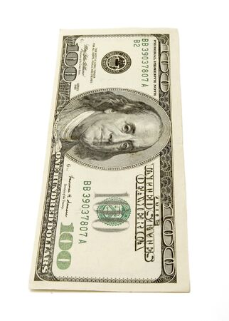 one hundred dollars: close up of one hundred dollars bill on white background with path Stock Photo