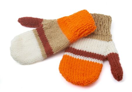 warm things: close up wool gloves winter clothing, with path