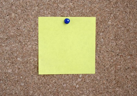 close up of yellow note pad reminder on wall photo