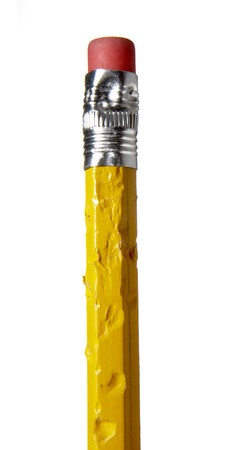 close up of chewed pencil on white background with path Stock Photo - 4338839