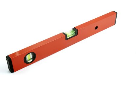 centering: close up of spirit level for construction workers on white background with path