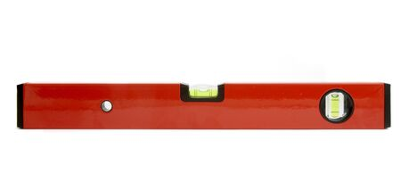 appraise: close up of spirit level for construction workers on white background with path