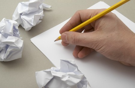 disposed: close up of blank white papers and pencil Stock Photo