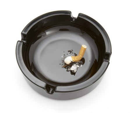 close up of ashtray and cigarettes on white background Stock Photo - 4347157