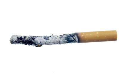 quiting smoking: close up of burned cigarette on white background