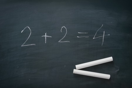 close up of chalk and numbers on blackboard  Stock Photo - 4347204
