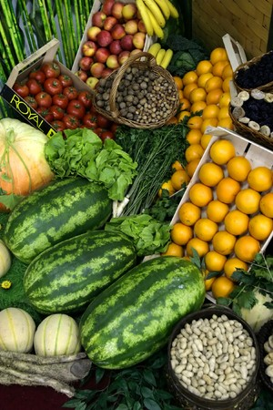ripeness: close up of fresh vegetables and fruits on market