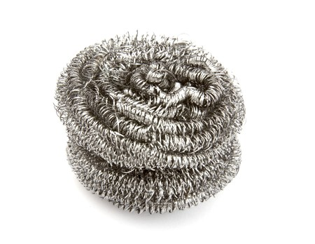 cleanup: close up ofwire wool  on white background