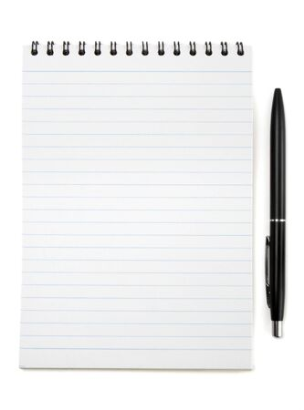 close up of notebook and pencil on white background with path Stock Photo - 4353842