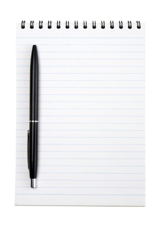 scratchpad: close up of notebook and pencil on white background with path Stock Photo