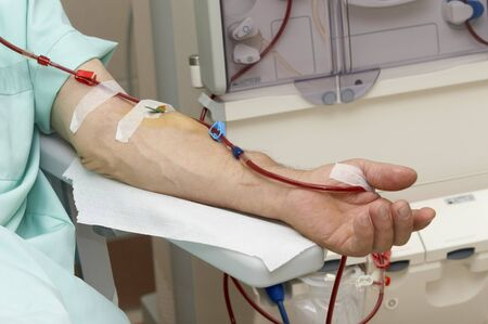 patient helped during dialysis session in hospital Stock Photo - 4362630